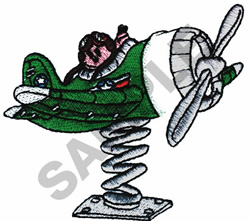 BOY FLYING IN TOY AIRPLANE embroidery design