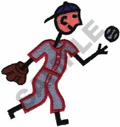 BASEBALL STICK BOY embroidery design
