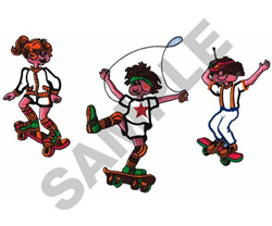 SKATEBOARDERS embroidery design