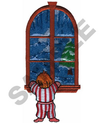 BOY WATCHING SNOW FROM WINDOW embroidery design
