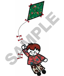 BOY FLYING KITE embroidery design