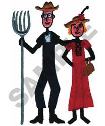 FARMING STICK COUPLE embroidery design