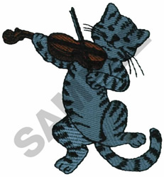 CAT PLAYING FIDDLE embroidery design