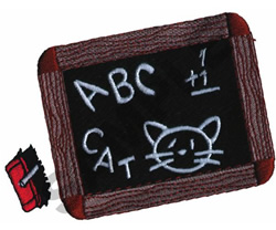 CHALK BOARD ABC CAT embroidery design