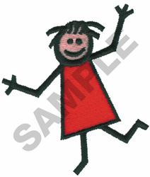 HAPPY STICK GIRL embroidery design