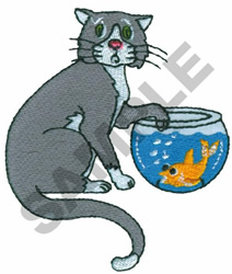 CAT WITH FISH BOWL embroidery design