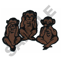 THREE MONKEYS embroidery design