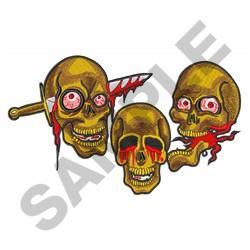 THREE SKULLS embroidery design