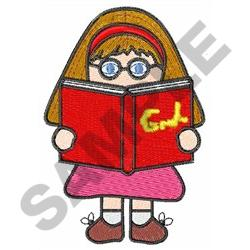 GIRL READING BOOK embroidery design