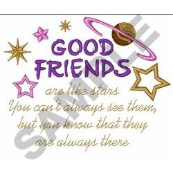 GOOD FRIENDS embroidery design
