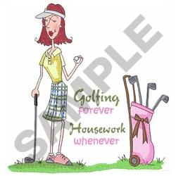 GOLFING FOREVER embroidery design