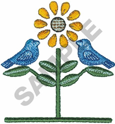 BIRDS WITH FLOWER embroidery design
