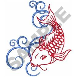 KOI FISH OUTLINE WATER SWIRLS embroidery design