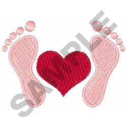 FOOTPRINTS WITH HEART embroidery design