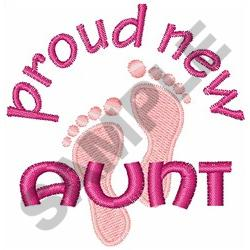 PROUD NEW AUNT embroidery design