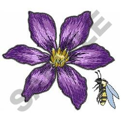 BEE AND FLOWER embroidery design