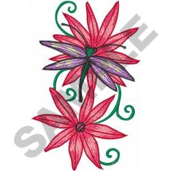 DRAGONFLY ON FLOWERS embroidery design
