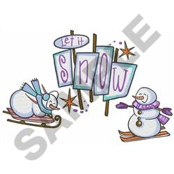 LET IT SNOW SCENE embroidery design