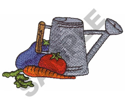 WATERING CAN WITH VEGGIES embroidery design