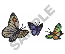 THREE BUTERFLIES embroidery design