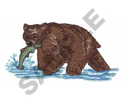 BEAR WITH A FISH embroidery design
