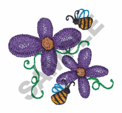 2 BEE WITH DAISIES embroidery design