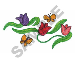 BUTTERFLIES WITH FLOWERS embroidery design