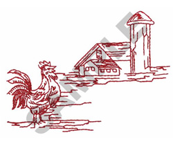 HEN IN FRONT OF FARM HOUSE embroidery design
