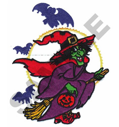 WITCH ON A BROOM W/BATS embroidery design