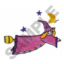 WITCH ON A BROOM embroidery design