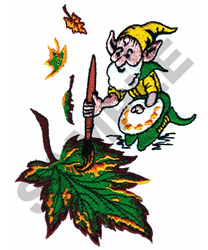 GNOME PAINTING LEAF embroidery design
