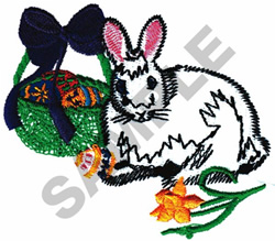 RABBIT W/BASKETT embroidery design
