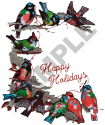 HAPPY HOLIDAYS BIRD BORDER embroidery design