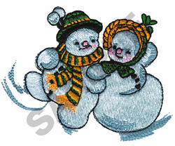 MR AND MRS SNOWMAN embroidery design