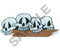 SKULLS ON SHELF embroidery design