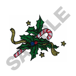 CANDY CANE AND HOLLY embroidery design