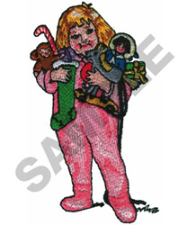 GIRL WITH TOYS embroidery design