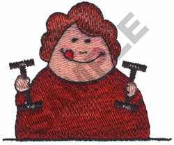 WOMAN WORKING OUT embroidery design