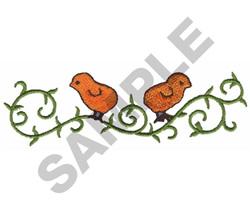 CHICKS ON VINE embroidery design