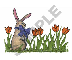 BUNNY IN TULIPS embroidery design