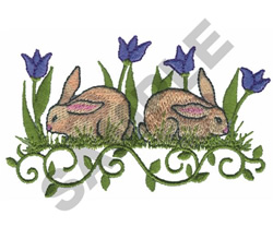 BUNNIES IN TULIPS embroidery design