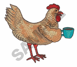 CHICKEN WITH CUP embroidery design