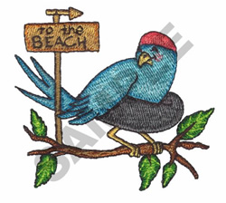 BIRD GOING TO THE BEACH embroidery design