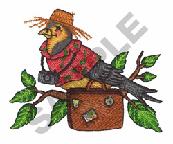 BIRD WITH A SUITCASE embroidery design