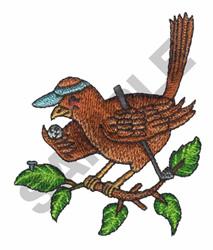 BIRD W/GOLF CLUB AND BALL embroidery design