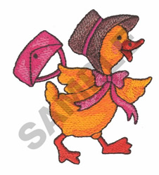 DUCK WITH BONNET AND PURSE embroidery design