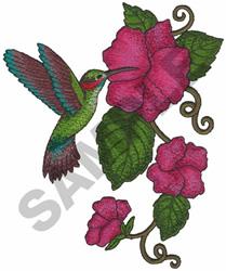 HUMMINGBIRD IN FLOWER embroidery design