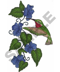 HUMMINGBIRD AROUND FLOWERS embroidery design