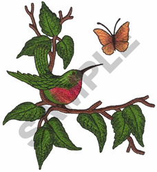 HUMMINGBIRD AND BUTTERFLY embroidery design