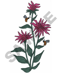 FLOWERS AND BEES embroidery design